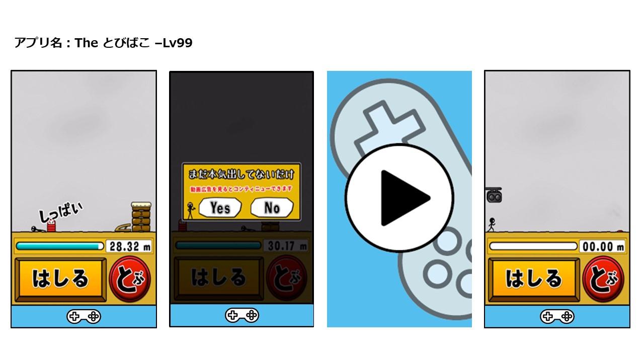 動画リワード広告視聴のインセンティブが、プレイ時間延長のゲームアプリの例